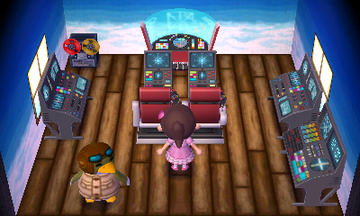 Interior of Boomer's house in Animal Crossing: New Leaf