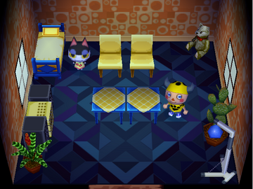 Interior of Punchy's house in Animal Crossing