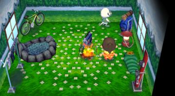Interior of Monty's house in Animal Crossing: City Folk