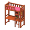 Loft Bed with Desk (Brown - Pink) NH Icon.png