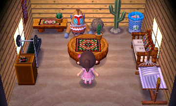 Interior of Boone's house in Animal Crossing: New Leaf