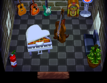 Interior of Gruff's house in Animal Crossing