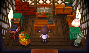 Interior of Timbra's house in Animal Crossing: New Leaf