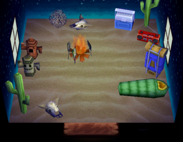 Interior of Claude's house in Animal Crossing