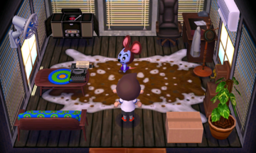 Interior of Moose's house in Animal Crossing: New Leaf