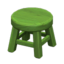 Wooden Stool (Green - None)