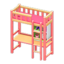 Loft Bed with Desk (Pink - Pink)