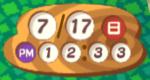 The clock in Animal Crossing (left) and Doubutsu no Mori e+ (right)