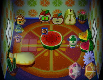 Interior of Bubbles's house in Animal Crossing