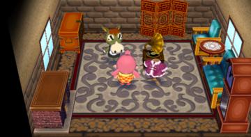 Interior of Buck's house in Animal Crossing: City Folk