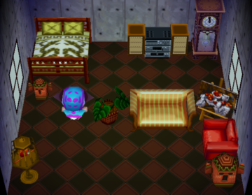 Interior of Purrl's house in Animal Crossing