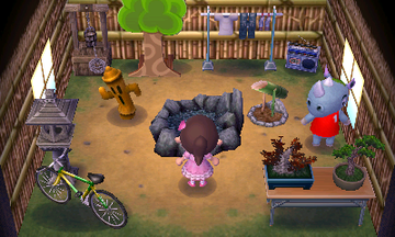 Interior of Tank's house in Animal Crossing: New Leaf