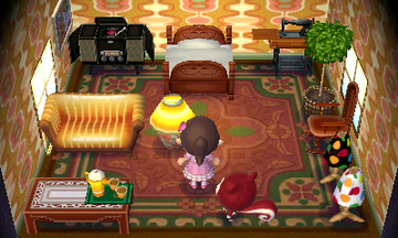 Interior of Poppy's house in Animal Crossing: New Leaf