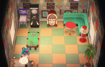 Interior of Rodney's house in Animal Crossing: New Horizons