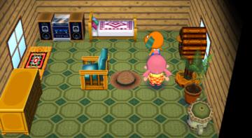 Interior of Biskit's house in Animal Crossing: City Folk