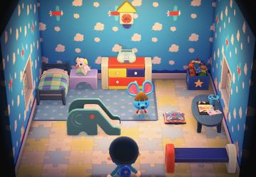 Interior of Broccolo's house in Animal Crossing: New Horizons