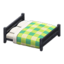 Wooden Double Bed (Black - Green)