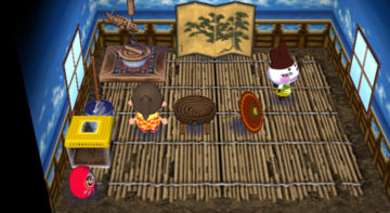 Interior of Genji's house in Animal Crossing: City Folk