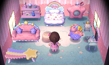 Interior of Étoile's house in Animal Crossing: New Leaf