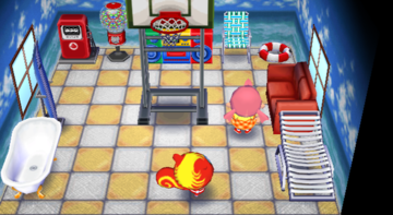 Interior of Caroline's house in Animal Crossing: City Folk