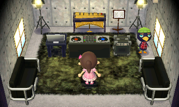 Interior of Jacques's house in Animal Crossing: New Leaf