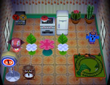 Interior of Pompom's house in Animal Crossing