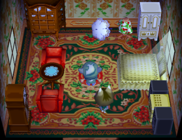 Interior of Kitty's house in Animal Crossing