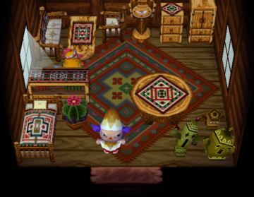 Interior of Leigh's house in Animal Crossing