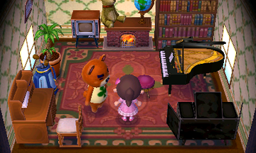 Interior of Teddy's house in Animal Crossing: New Leaf