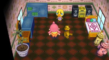 Interior of Twiggy's house in Animal Crossing: City Folk