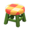 Wooden Stool (Green - Orange) NH Icon.png