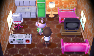 Interior of Truffles's house in Animal Crossing: New Leaf