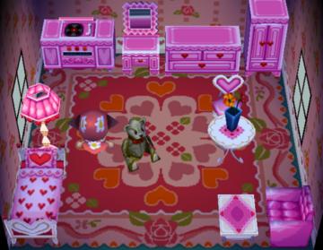 Interior of Winnie's house in Animal Crossing