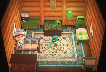 Interior of Drake's house in Animal Crossing: New Horizons