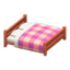 Wooden Double Bed (Cherry Wood - Pink)