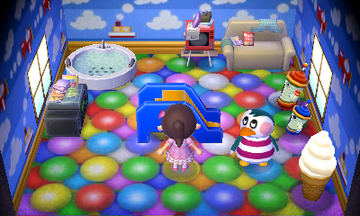 Interior of Iggly's house in Animal Crossing: New Leaf