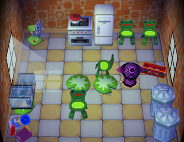 Interior of Lily's house in Animal Crossing
