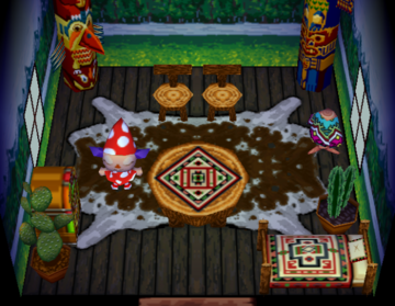 Interior of Quetzal's house in Animal Crossing