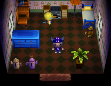 Interior of Twiggy's house in Animal Crossing