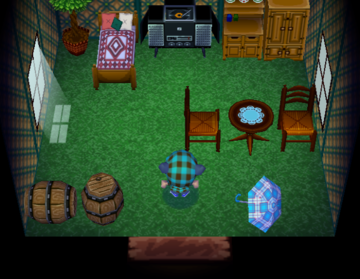 Interior of Goose's house in Animal Crossing