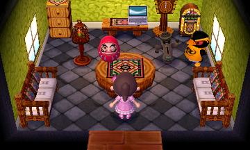 Interior of Hopper's house in Animal Crossing: New Leaf