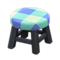 Wooden Stool (Black - Blue) NH Icon.png