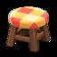 Wooden Stool (Dark Wood - Orange)