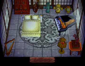 Interior of Snooty (villager)'s house in Animal Crossing