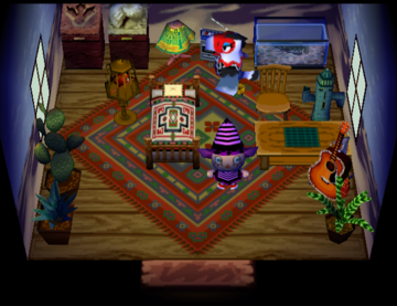 Interior of Amelia's house in Animal Crossing