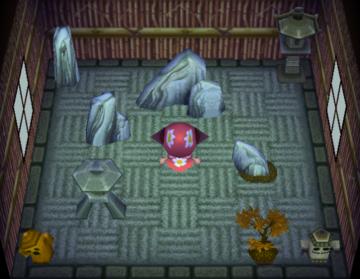 Interior of Genji's house in Animal Crossing