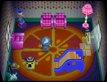 Interior of Nibbles's house in Animal Crossing