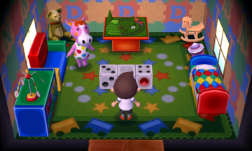 Interior of Peaches's house in Animal Crossing: New Leaf