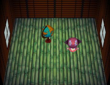 Interior of Pigleg's house in Animal Crossing