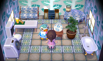 Interior of Sprinkle's house in Animal Crossing: New Leaf